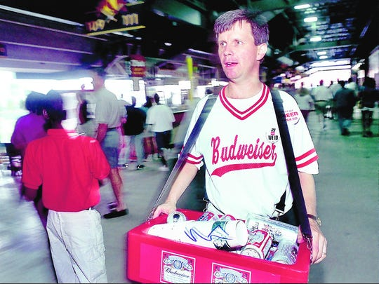 Geoff Calkins, The CA's resident attorney-turned-journalist, has worn other hats, as well. He turned beer salesman at AutoZone Park for a column in 2000.