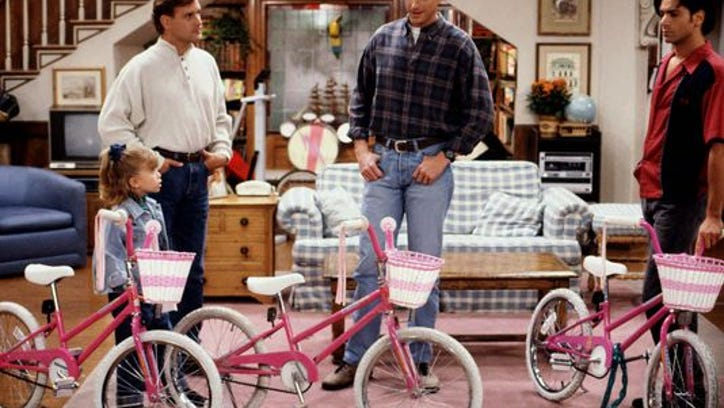 """Joey (Dave Coulier, left), Danny (Bob Saget, center), and Jesse (John Stamos, right) realize they've got a big problem when they each show up with what they think is Michelle's (Mary-Kate Olsen, left) stolen bike on """"The Bicycle Thief."""""""