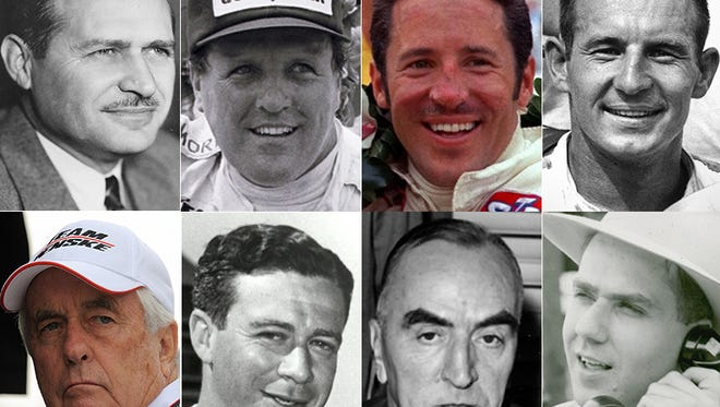 Nos. 3-10 on Curt Cavin's list of the most important people in Indianapolis 500 history (top row, from left): No. 3, Wilbur Shaw; No. 4, A.J. Foyt; No. 5 Mario Andretti; No. 6, Parnelli Jones. Bottom row, from left: No. 7, Roger Penske; No. 8, Sid Collins; No. 9, Eddie Rickenbacker; No. 10, Tom Carnegie.