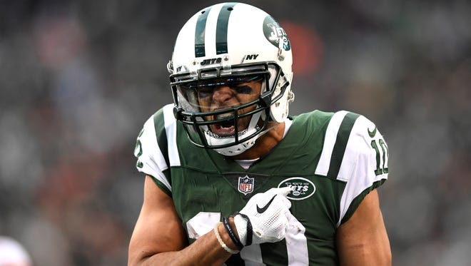 FILE -- New York Jets wide receiver Jermaine Kearse (10) celebrates after completing a long pass downfield against the Kansas City Chiefs in East Rutherford, NJ on Sunday, December 3, 2017.