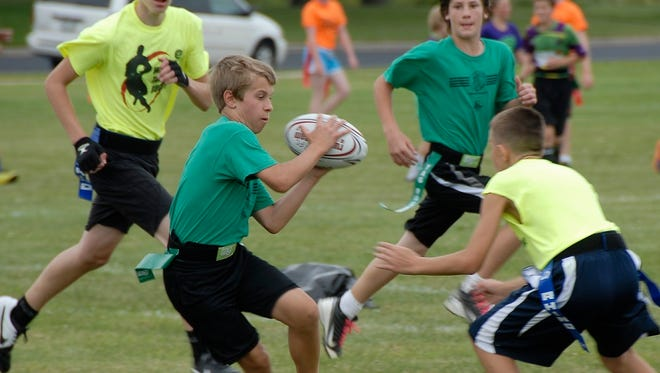 Youth flag rugby.