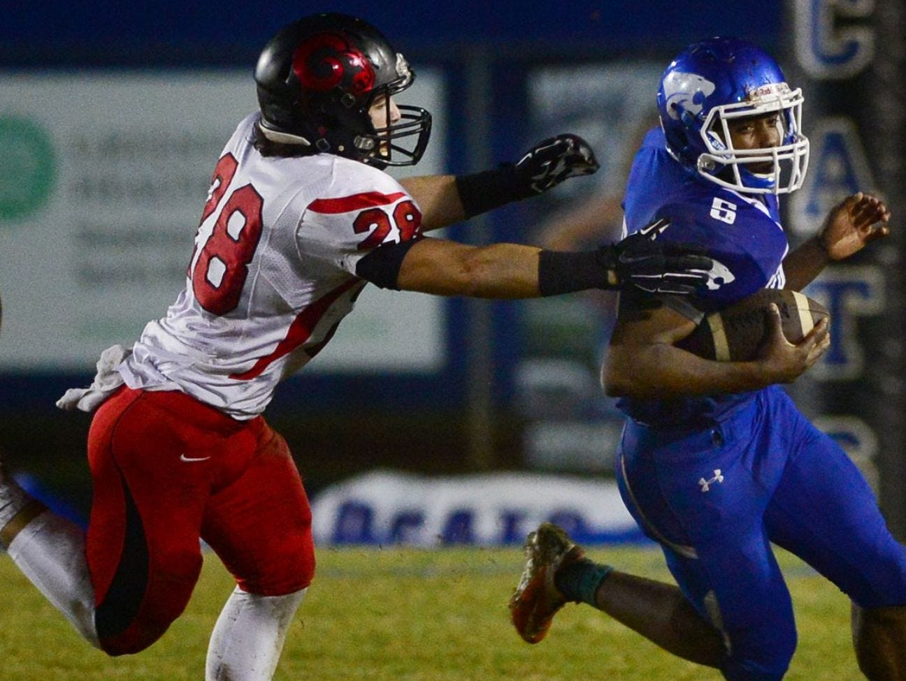 Senior linebacker Isaiah Sayegh (28) and the Hillcrest Rams will host rival Mauldin in a Class AAAA Division I first-round playoff game Friday night.