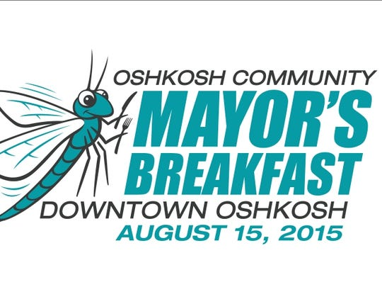 A new logo Oshkosh Community Mayor's Breakfast features a lake fly. The annual event is set for Aug. 15, 2015 at the Leach Amphitheater.