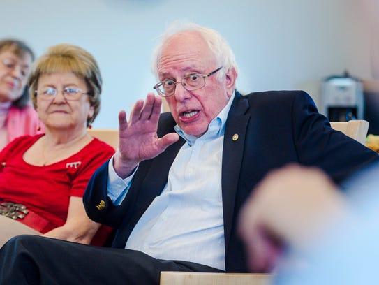 U. S. Senator Bernie Sanders, I-Vermont, speaks with
