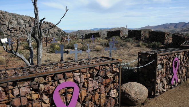 At Granite Mountain Hotshots Memorial State Park in Yarnell, a ring of 19 metal mesh containers, known as gabions, marks the site where 19 Granite Mountain Hotshots died in 2013.