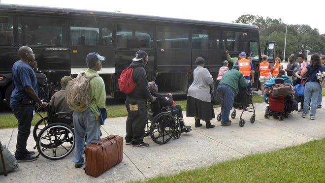 A Vox writer suggests several bus stops in the area for evacuating people prior to a hurricane. Shown: People with disabilities were the first to evacuate in buses Sept. 9, 2017, at the Savannah Civic Center prior to Hurricane Irma.