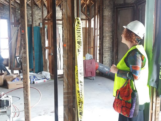 Kimberly Abler looks at renovations on the second floor
