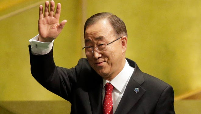 In this Monday, Dec. 12, 2016, file photo, United Nations Secretary-General Ban Ki Moon waves after speaking at the swearing-in ceremony for his successor, Antonio Guterres, at U.N. headquarters.
