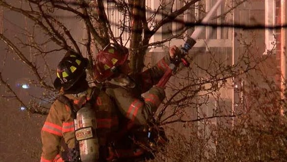 Crews battle a fire at a Fairfield apartment building early Tuesday.