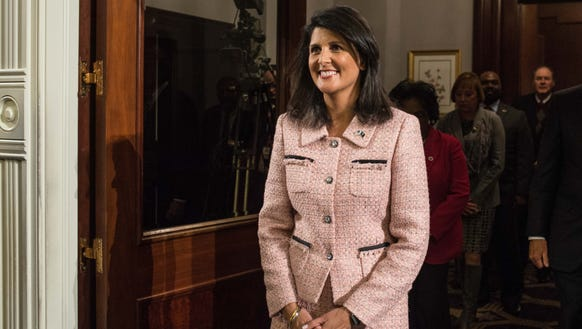 South Carolina Gov. Nikki Haley enters the House chambers