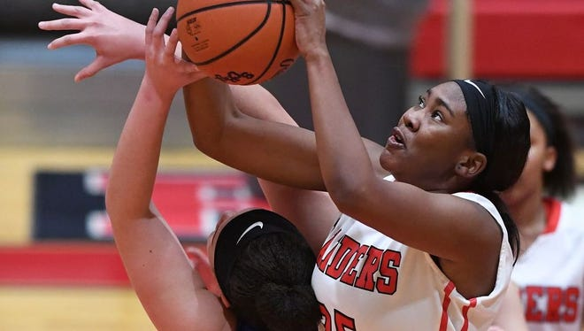 Senior forward Kaimyiah Irby (25) and the Greenville Red Raiders will play North Augusta for the Class AAAAA girls Upper State title at 7 p.m. Friday.