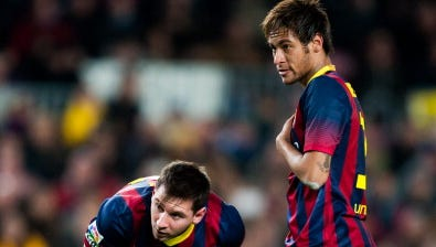 Neymar abrió la cuenta a los seis minutos, Messi anotó su 22da diana del torneo a los 30 y el brasileño repitió a los 67 para sumar su novena diana liguera y cerrar el 23er triunfo del equipo entrenado por Gerardo Martino, que venía de ganar por 4-3 el clásico contra el Madrid el domingo.