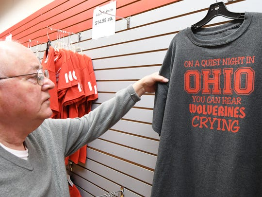 One of Bill Cruse's best sellers at Bill's Buckeye Stuff in the Richland Mall is this T-shirt.