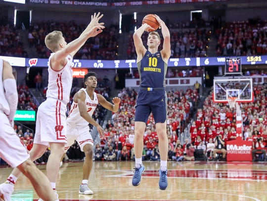 Stevens Point native Sam Hauser ranks third in scoring at 14.6 points a game and first in rebounding (5.8) in his sophomore season at Marquette University.
