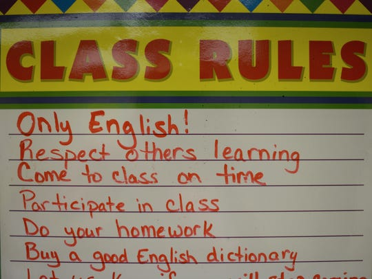 English class rules are on display at the Literacy