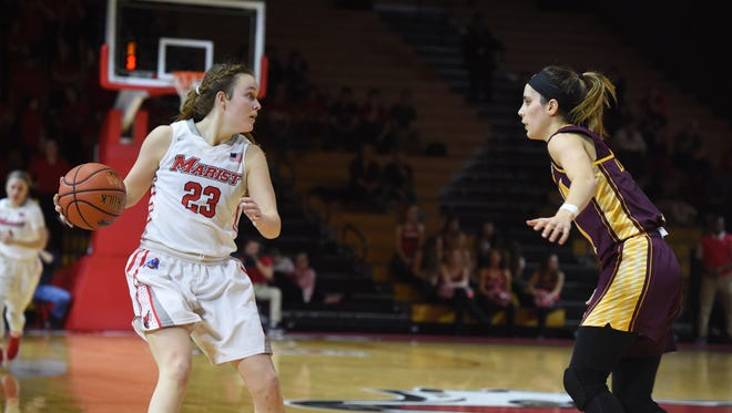 Marist's Rebekah Hand looks for an open teammate during Marist's game against Iona on Jan. 26.