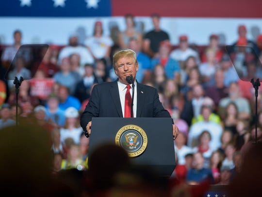 President Donald Trump visits Great Falls for a campaign rally in the Four Seasons Arena on Thursday, July 5, 2018