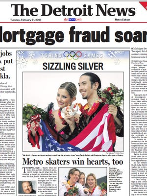 The front page of The Detroit News on Feb. 21, 2006.