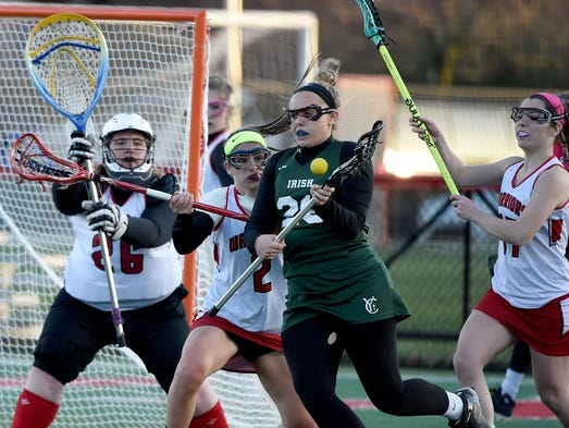York Catholic's Anna Linthicum makes her to the goal