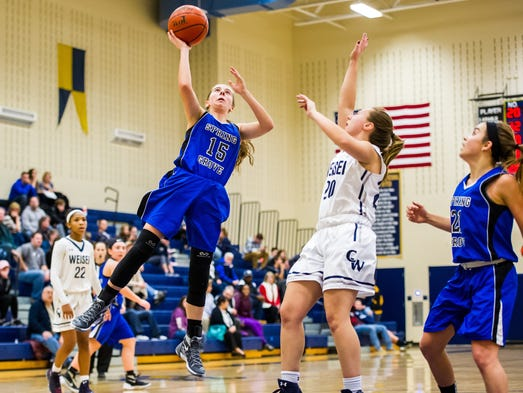 Spring Grove's Lexi Hoffman (15) attempts a shot against