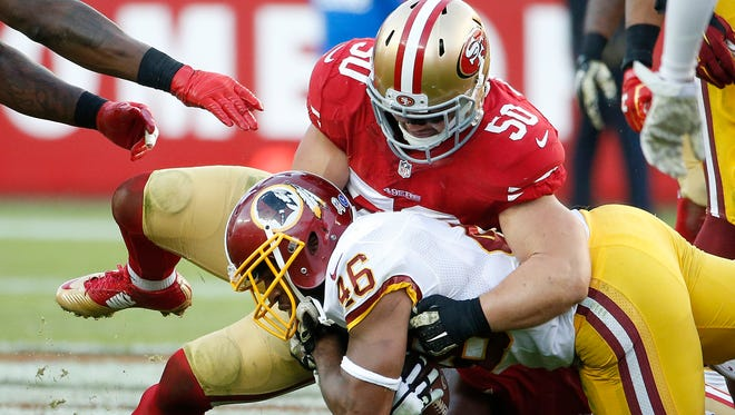 San Francisco's Chris Borland (50) stunned the NFL with his retirement announcement.
