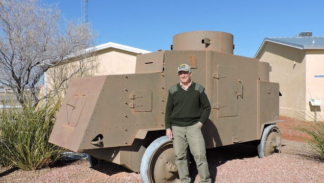 Pancho Villa State Park Manager John Read stands in front of a Jeffrey armored vehicle, circa 1915, that sits on the park grounds. Staff at the park are planning the 14th annual Camp Furlong Day on Saturday at the park. The park will join with other Columbus, NM organizations to acknowledge the 101st anniversary of the raid on the village.