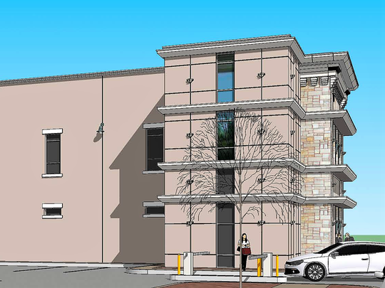 A rendering of a proposed three-story office building at 810 E. San Antonio Ave. in Downtown El Paso.