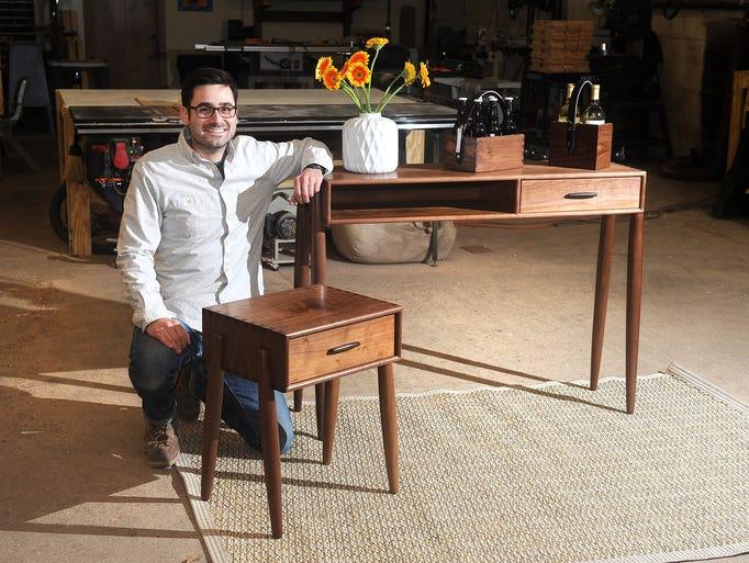Kyle Huntoon builds furniture at his New Center workshop