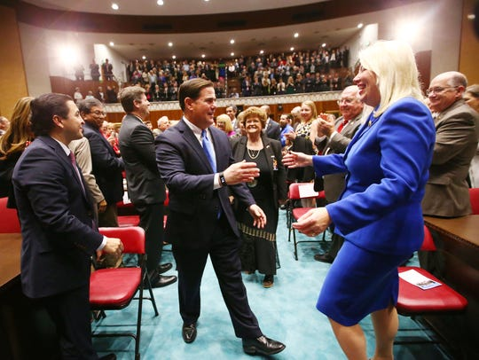 Gov. Doug Ducey arrives at the Arizona House of Representatives