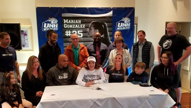 Elmira High School senior Mariah was joined by friends and family when she signed her National Letter of Intent to play basketball at New Hampshire.