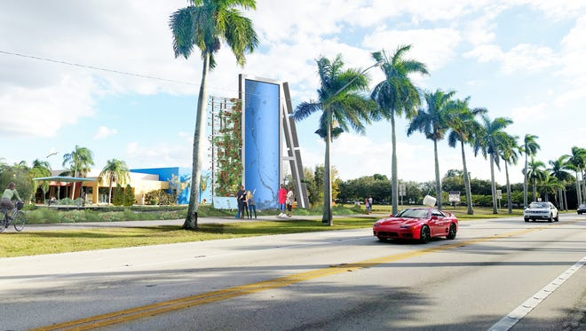 """An early conceptual rendering of the planned """"Caloosahatchee Water Wall"""" sculpture and new sidewalks at the Alliance for the Arts in Fort Myers."""