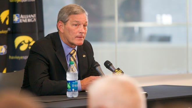 Iowa head coach Kirk Ferentz responds to questions during Iowa football media day on Monday, Aug. 4, 2014.