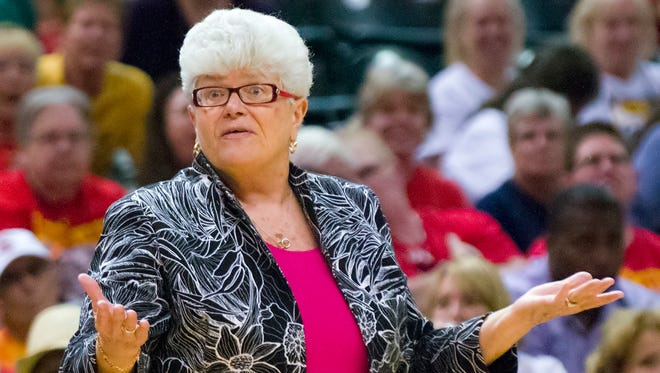 Indiana Fever head coach, Lin Dunn, reacts to the official's whistle during the first half of the WNBA game between the Indiana Fever and the Atlanta Dream, August 10, 2013, at Bankers Life Fieldhouse.