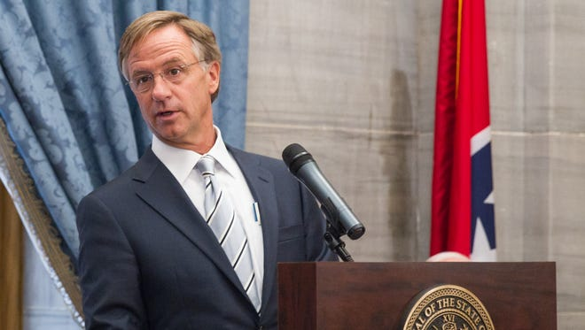 Gov. Bill Haslam speaking during a press conference at the state Capitol in Nashville, Tenn., on Tuesday, June 3, 2014.