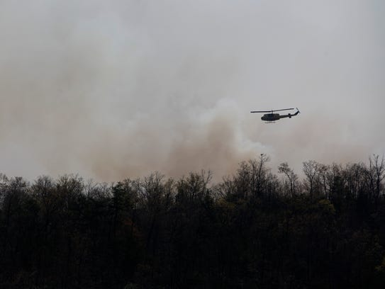 Views of the Dobson Knob Fire in McDowell County April