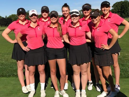 The Section V girls golf team, back row, from left: Deanna Tinch, Sophie Renzi, Denielle Newman, Lena Kaufman and Olivia Durant. Front row: Morgan Bronstein, Abby Ottman, Emily Wilborn and Mikah McDonnell