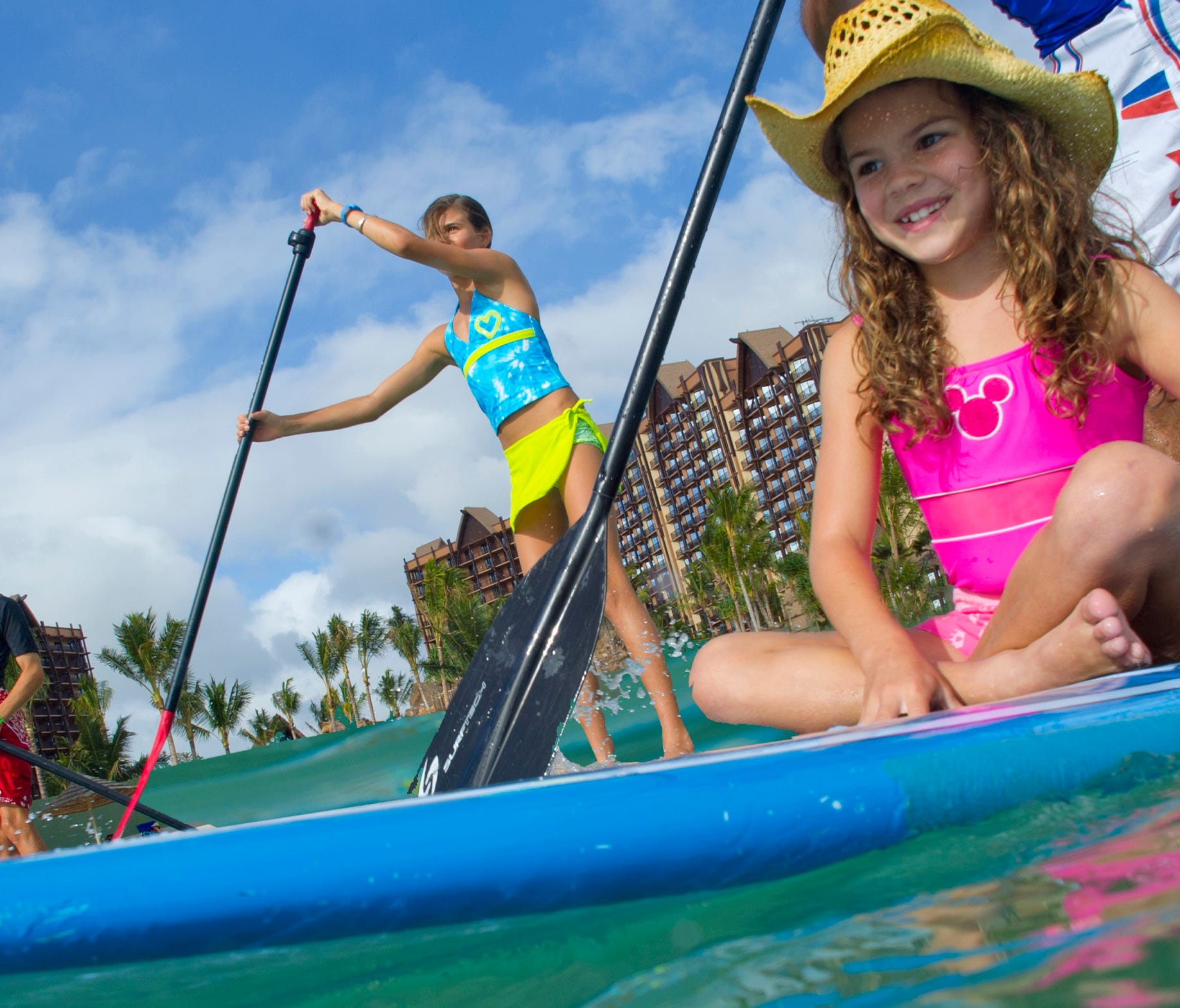 STANDING PADDLE BOARD, AULANI LAGOON -- With its fun recreation features and restaurants, its comfortable rooms, and its combination of Disney magic with Hawaiian beauty, tradition and relaxation, Aulani, a Disney Resort & Spa in HawaiÔi, offers a ne