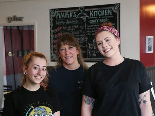 From left, Grace, Maura and Kelly Letizia at Maura's Kitchen in Millbrook on May 2, 2018. Maura and her two daughters work the line at the restaurant.