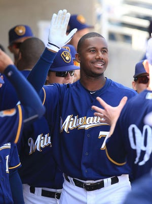Brewers outfielder Lewis Brinson, acquired from Texas in the Jonathan Lucroy trade, is the top-ranked prospect in the organization.