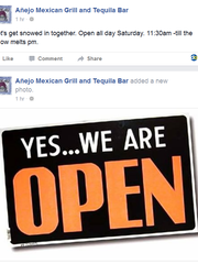 Añejo Mexican Grill & Tequila Bar in Wilmington's Trolley Square let people known on social media that they would be open during the snow storm.