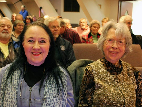 Gloria Boyer of Redding, left, and Patricia Crow of Seattle attend an Oaksong Music Society concert at Pilgrim Congregational Church in Redding.