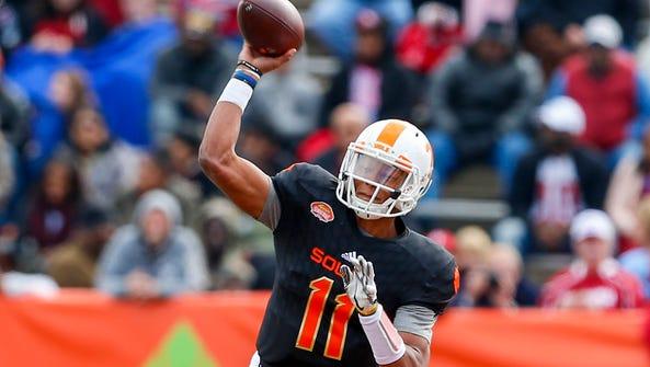 South quarterback Josh Dobbs of Tennessee throws a