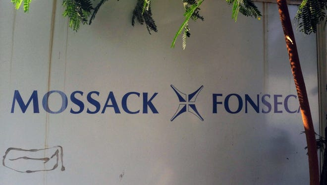 View of a sign outside the building where Panama-based Mossack Fonseca law firm offices are based in Panama City on April 3.