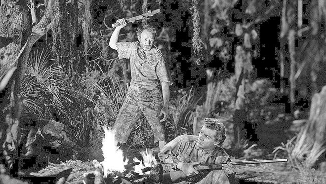 """Walter Brennan, club in hand, plays against type with Dana Andrews in the 1941 film """"Swamp Water.""""  Andrews displays his dramatic chops in the 1945 film """"Fallen Angel."""""""