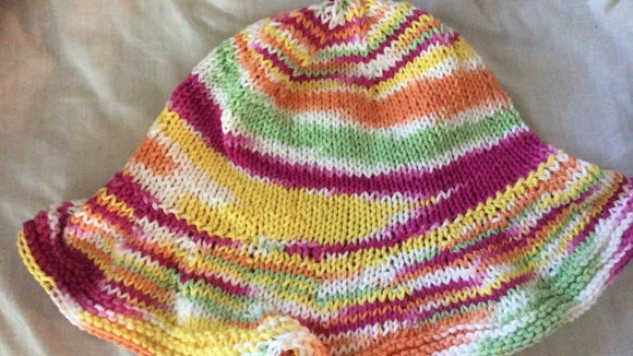 I showed this hat to some colleagues at work yesterday. Bob Makin said it was tropical colors but too warm for the tropics. Once I explained what it was for, he got excited and started tweeting about our chemo cap project, and a bunch of other colleagues retweeted him.