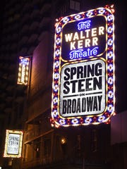His name is in lights on Broadway! The marquee of 'Springsteen