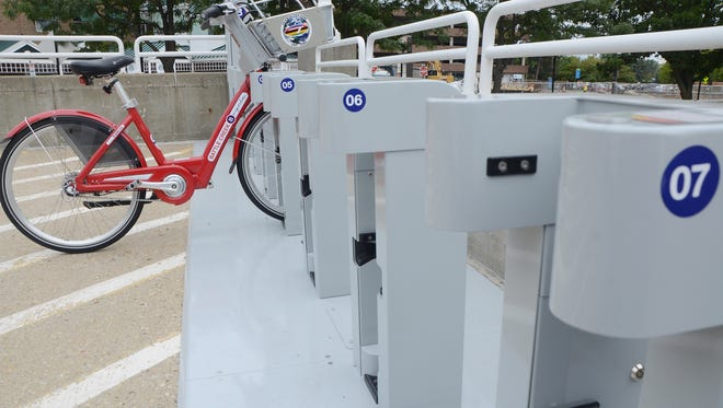 The B-cycle station at Riverwalk Centre in 2014. A new station was installed last month in the Old Lakeview neighborhood in Battle Creek.