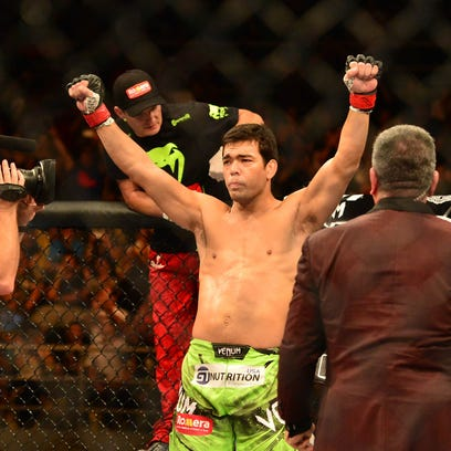 Lyoto Machida (red gloves) before his fight against C.B. Dollaway (blue gloves) during UFC Fight Night at Jose Correa Arena.