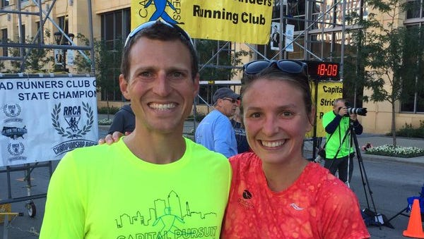 Adam Bohach and wife Flannery at the Capital Pursuit 10-mile race at Des Moines in September.