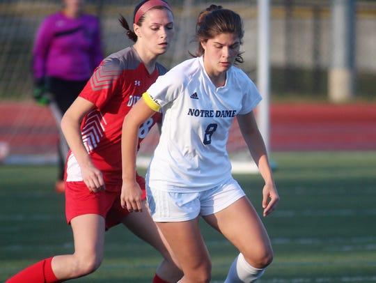 Notre Dame senior Audrey Muck shields a defender during
